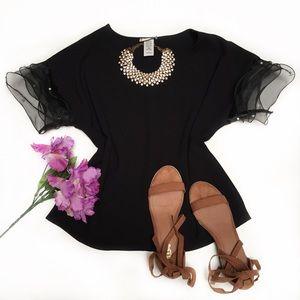 NWT // Black Pearl Beaded Ruffle Sleeve top